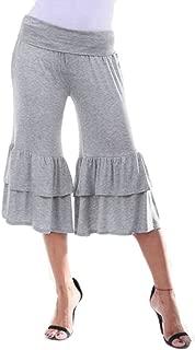 Cromoncent Womens Solid Sport Yoga Mid-Rise Ruffle Flare Baggy Capri Pants Grey XXL