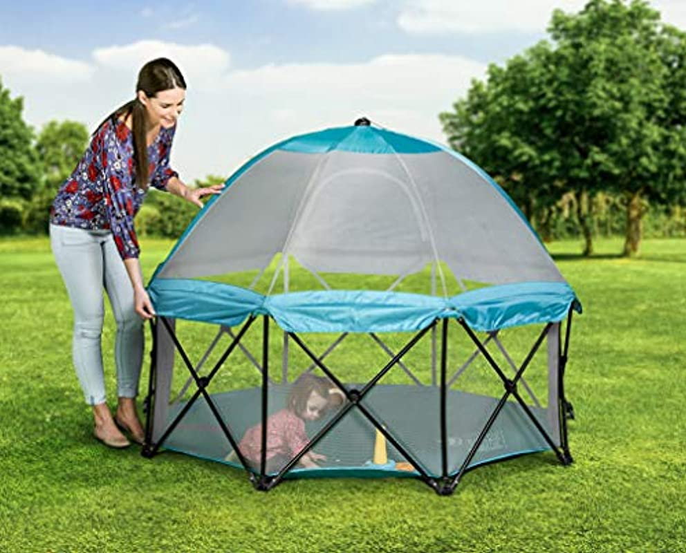 Regalo 8 Panel Foldable and Portable Play Yard with Carrying Case and Full Coverage Canopy, Teal