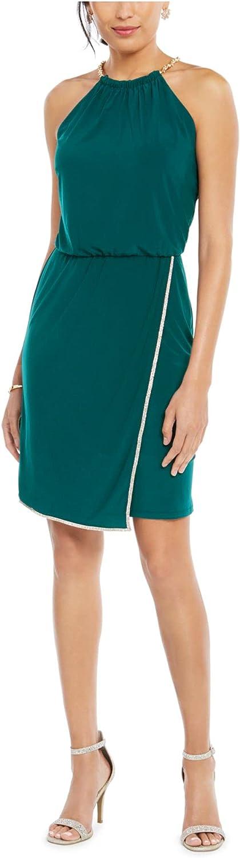 MSK Womens Green Rhinestone Solid Sleeveless Halter Above The Knee Sheath Cocktail Dress Size XL