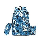 小学生通学カバン ティーン少年少女のスクールバッグファッションカジュアルバックパックビッグコンパートメントアウトドア旅行ショッピングハイキング おしゃれ 軽量 アウトドア 女の子 (色 : Blue, Size : 29X15X43cm)