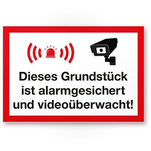 Grundstück Alarmgesichert/Videoüberwacht Kunststoff Schild - Achtung/Vorsicht Videoüberwachung - Hinweis/Hinweisschild Videoüberwacht - Warnhinweis