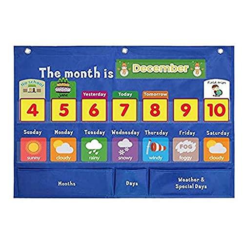 Mi Primer Calendario Infantil,Calendario Infantil Educativo Ingles,Calendario para Niños Velcro,Carteles Educativos Aprendizaje Calendario de Pared y Gráfico Del Tiempo Con 98 Tarjetas