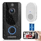 CHWARES 1080P Video Doorbell Camera with Chime, Wireless WiFi Smart Video Doorbell Security Camera with Motion Detection, 2-Way Audio, Night Vision, IP65 Weather Resistant (Free Cloud Storage)