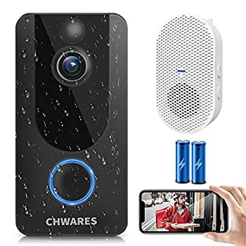 CHWARES Video Doorbell Camera with Chime 1080p HD Wireless WIFI Motion Detection 2-Way Audio Night Vision IP65 Waterproof Battery-Powered Easy Installation Free Cloud Storage No Monthly Fees