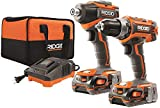 RIDGID 18-Volt Lithium-Ion Cordless Brushless Drill/Driver and Impact Driver Combo Kit w/(2) 1.5Ah...