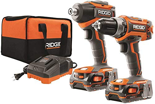 Ridgid R9603 18V Lithium Ion Cordless Brushless Drill Driver and Impact Driver Combo Kit (2 x 1.5 Amp Hour Batteries, 18V Battery Charger, and Case Included)