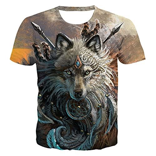 DREAMING-Summer Animal Wolf Head impresión Digital 3D Jersey de Cuello Redondo Casual Top Camisetas de Manga Corta para Hombres y Mujeres XL