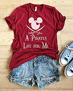 X Small/Red/A Pirates Life For Me/UNISEX FIT/Fun Shirt/Happy Shirt/Adult Disney T Shirt/Fast Shipping/Hand Made Shirt/Disney Inspired Shirt/Soft Shirt/
