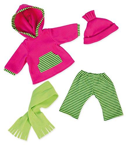 Bayer Design 84664AA Puppenkleidung für 40-46cm Puppen, Hose, Oberteil, Mütze, Schal, Puppenzubehör, Set, Outfit Winter, rosa, grün