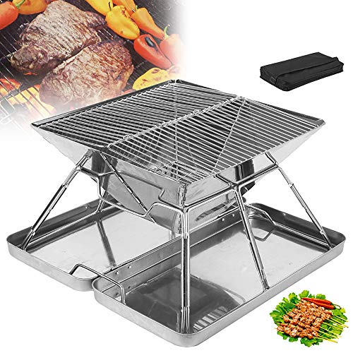 HWHSZ Foldable Barbecue Grill, Portable Stainless Steel Charcoal Camping Grills Smoker Barbecue with Storage Bag, for 5-7 Persons, for Outdoor Camping Picnic Cooking BBQ Tools
