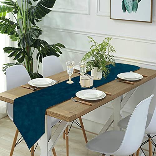 Reebos Camino de mesa de lino para aparador, camino de mesa de cocina, color azul oscuro y azul turquesa para cenas de granja, fiestas de vacaciones, bodas, eventos, decoración, 13 x 70 pulgadas