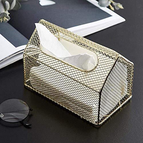 YUXIwang Tenedor de papel higiénico de Tejido caja de pañuelos de almacenamiento caja titulares de tejido de metal forjado de hierro tisular caja del cajón luz de la bandeja creativa Salón Comedor alm