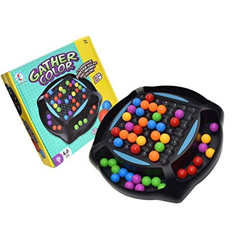 precauti Juego de mesa de ajedrez con bolas de arco iris, colorido y divertido juego de mesa con 48 cuentas de colores, rompecabezas educativo simple juguete