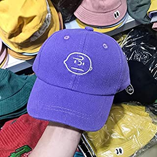 YBAA New Baby Hats Solid Color Cotton Embroidery Eaves Baseball Hat Boys and Girls Children Leisure Time Peaked Cap Soft Hat Autumn (Color : Purple, Size : M 49 53cm)