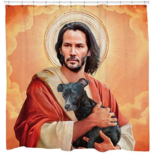 Sharp Shirter Funny Religious Shower Curtain, Hilarious Meme Art, Cool Bathroom Decor, Keanu Holding Dog, Orange Fabric, Hooks Included