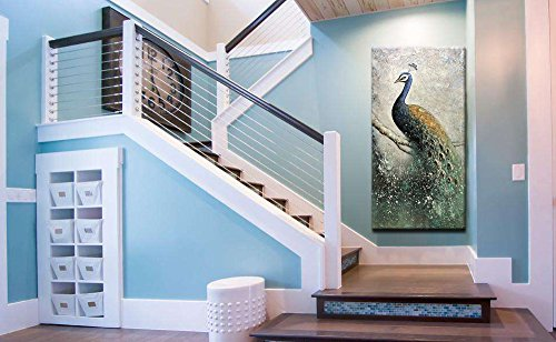 Asdam Art- Hand Painted Paintings On Canvas 3D Peacock Artwork Large Vertical Wall Art Animal Pictures Framed Acrylic Artwork for Living room Bedroom Hallway Office Modern Home Decor (24x48 inch)