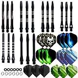 Haosell Lot de 18 ailettes de fléchettes noires + 18 tiges en aluminium noir + 12 anneaux en caoutchouc + 12 anneaux en caoutchouc + 12 tiges de fléchettes en acier doux