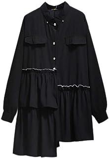 Plus Size Ladies Shirt Summer Shirt Ladies Button Long Top Loose Long Sleeve Irregular Top Suitable for Four Seasons