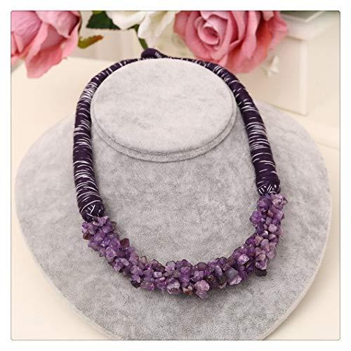 FKJSP Rojo Brillante Colgante Piedra Natural Delicado Gargantilla Coral Diseño Cuerda Collar for Las Mujeres (Metal Color : XL802 Purple)