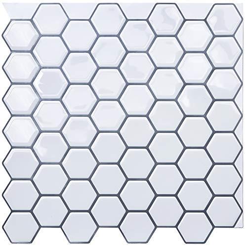 "Uoisaiko 12"" x 12"" Peel and Stick Wall Tile for Kitchen Backsplash, Stick on Tiles Backsplash Subway Tile Stickers 4 Sheets"