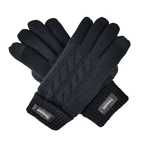 Bruceriver Ladie's Pure Wool Knit Gloves with Thinsulate Lining Cable Design and Turnover Cuff Size M (Black Touchscreen)