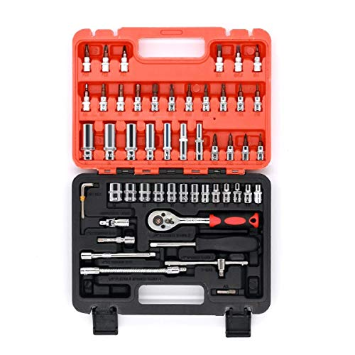 53pcs CRT001 1/4-Inch Car Auto Automobile Motorcycle Repair Tool Ratchet Wrench Drive Socket Set with Plastic Toolbox Storage Case