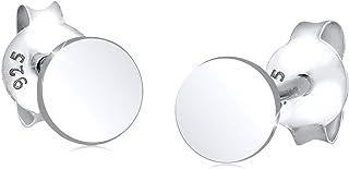 اقراط بسيطة للاذن للنساء من ايلي، مرصعة ودائرية مصنوعة من الفضة الاسترليني عيار 925