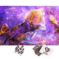 大人のためのジグソーパズル、大人と十代の若者のための難しい1000ピースパズル、星空の紫色のライオン1000ピースジグソーパズル、大人のパズル、家族のための知的パズルおもちゃ-26x38cm