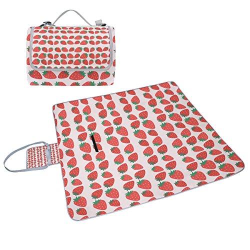 coosun Erdbeeren Muster Picknick Decke Tote Handlich Matte Mehltau resistent und wasserfest Camping Matte für Picknicks, Strände, Wandern, Reisen, Rving und Ausflüge
