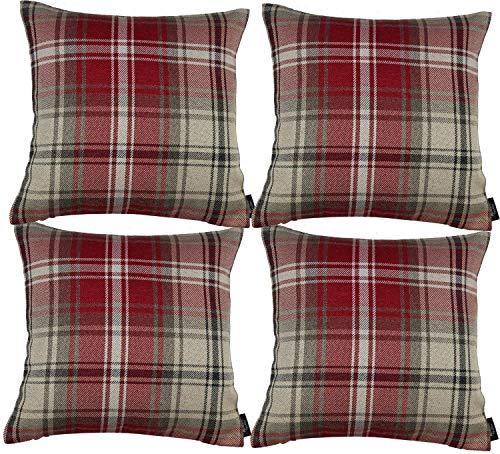 McAlister Textiles Angus | 4er Packung Sofakissen mit Füllung im Tartan-Muster kariert 40cm x 40cm in Rot | Deko Kissen für Sofa, Bett, Couch