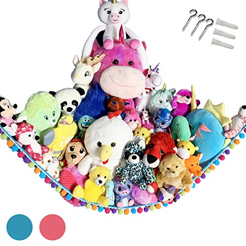 Hanging Storage Toys Hammock Net With Fun Poms Poms for Plush Animal Teddy Bear  Great Gift for Boys Girls  Organize Small Large Giant Stuffed Toys Balls  Blue