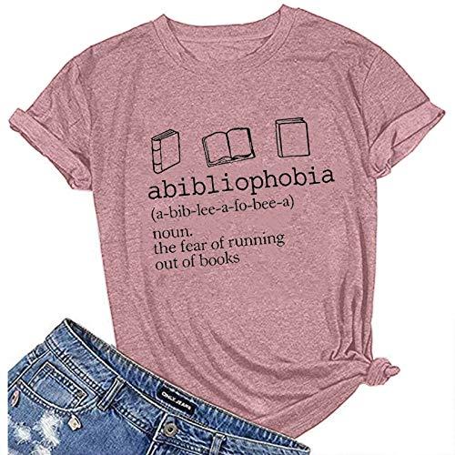VEMOW Camiseta Mujer Verano Moda Manga Corta Cuello Redondo, 2021 más Reciente Moda Letras Impresión Blusa Camisa Basica Camiseta Suelto Tops Elegante Casual Fiesta T-Shirt Original tee(C Rosado,M)