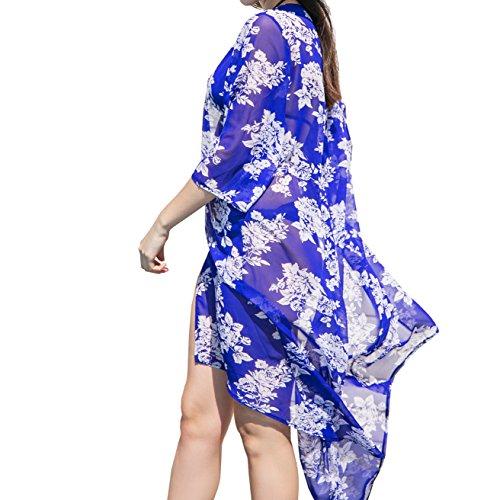 Mujeres Impresión Floral Gasa Kimono, Elegante Largo Playa Vestido bikini encubrimiento