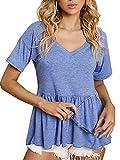 SOFIA'S CHOICE Women Peplum Tops V Neck Loose Fit Short Sleeve Pleated Tee Shirt Sky Blue