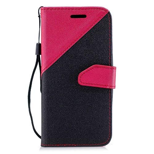 Coque Huawei P20 Lite,Etui Huawei P20 Lite,Surakey Huawei P20 Lite Cuir PU Housse à Rabat Portefeuille Étui Flip Case Folio à Clapet Stand de Fermeture magnétique, Noir+Rouge