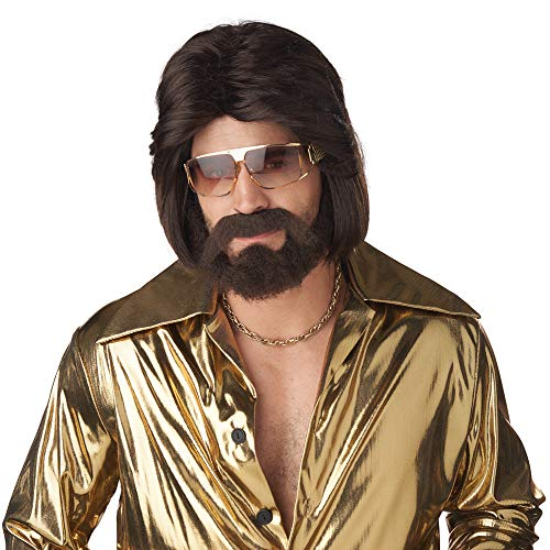 California Costumes Mens Sexy 70's Man Brunette Wig, Beard and Mustache Brown