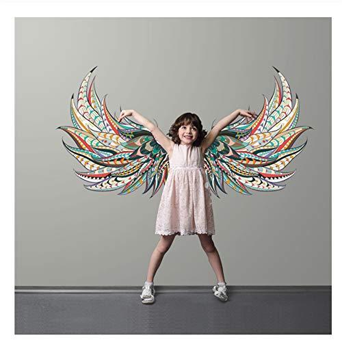 Diseño de alas de ángel Etiqueta de la pared Decoración para el hogar Sala de estar Arte Calcomanía de pared Vinilo Interior Dormitorio Decoración Mural extraíble 120x73cm