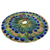 Juhucc Peacock Feathers Christmas Tree Skirt 36 in for Christmas Decorations Skirt Rustic Xmas Holiday New Year Party Tree Mat Decor Indoor Outdoor Christmas Tree Mats
