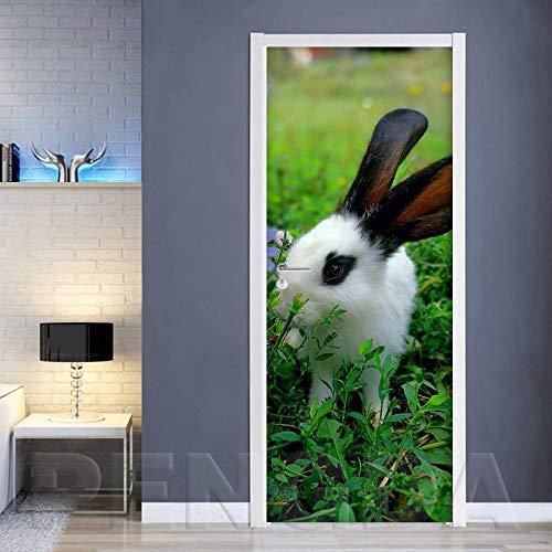 3D-deursticker, zelfklevend canvas, wooncultuur, vernieuwen, PVC, poster konijnen, dierenprint, kunstschilderij, waterdicht behang voor