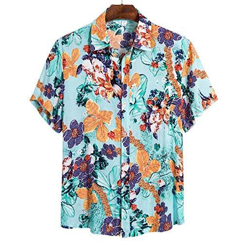Camisa de Lino Hombre Informal Camisas Funky Impreso Playa Camisetas Casual Vacaciones de Verano Hawaiana Señores Manga Corta Bolsillo Delantero T-Shirt