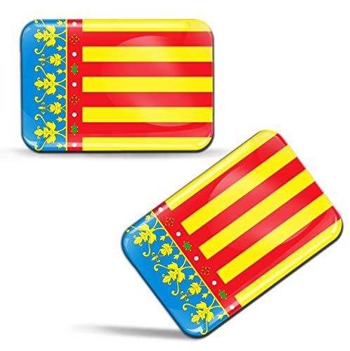 Biomar Labs 2 x 3D Gel Pegatinas Siliconas Comunidad de España Bandera Valenciana Español Stickers...