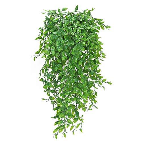 XHXSTORE 3pcs Planta Colgante Artificial Enredadera Verde Plastico Hiedra Helecho Artificial Colgante para Exterior Interior Balcon Terraza Cocina Baño Maceta Boda Fiesta