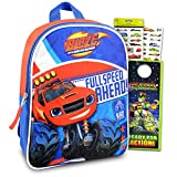 """Blaze And The Monster Machines Mini Backpack ~ 3 Pc Bundle With 11"""" Blaze School Bag For Boys, Toddlers, Kids With Race Car Stickers And More (Blaze School Supplies)"""