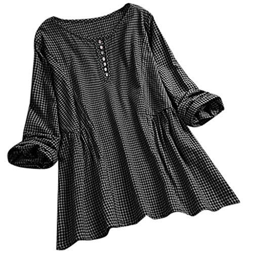 TOPKEAL Frauen-Weinlese-Gitter-Oansatzknopf-Lange Ärmel Beiläufiges Spitzenhemd Bluse Tops Mode 2020