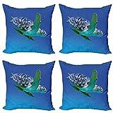 ABAKUHAUS Agua Set de 4 Fundas para Cojín, Trópicos Acuario Tortuga, Estampado Digital en Ambos Lados y Cremallera, 40 cm x 40 cm, Azul Violeta Verde del Helecho