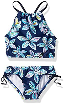 Kanu Surf Girls' Big Daisy Beach Sport Halter Tankini 2-Piece Swimsuit, Charlotte Floral Navy, 14