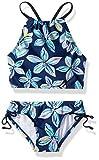 Kanu Surf Girls' Big Daisy Beach Sport Halter Tankini 2-Piece Swimsuit, Charlotte Floral Navy, 14