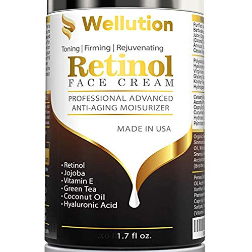 Wellution Moisturizer Cream for Face - Night Anti Wrinkle Retinol Cream for Women & Men - Results in 4 Weeks - Facial Cream with Hyaluronic Acid and 3% Retinol Complex for Anti Aging, Wrinkles & Acne