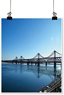 Single Painting Yalu River Bridge in The Early Morning Located in Dandong City,Liaoning Province,China Office Decorations,12