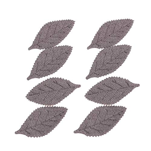 Supvox 50pcs Leaf Applique Leaf Cloth Patches Sew on Embroidered Patches Hair Clip Ornaments Hair Pin Props (Grey)